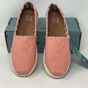 Toms Coral  Coral Canvas Loafers.